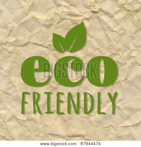 Crushed Brown Paper With Ecology Green Label, Vector Illustration