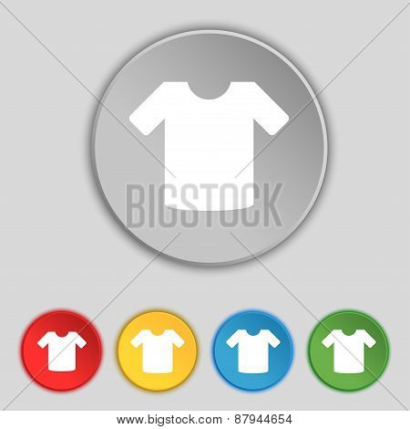T-shirt, Clothes Icon Sign. Symbol On Five Flat Buttons. Vector