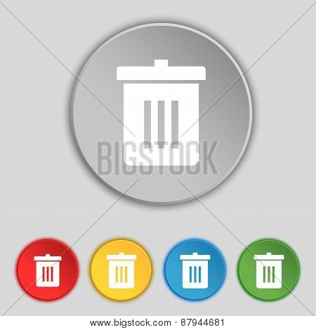 Recycle Bin, Reuse Or Reduce Icon Sign. Symbol On Five Flat Buttons. Vector