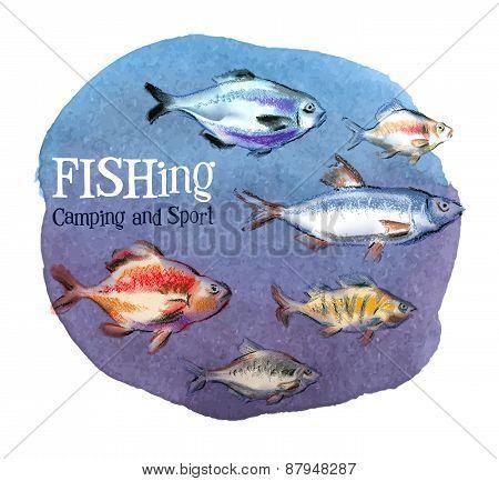 fishing vector logo design template. fresh fish or oceanarium, aquarium icon.