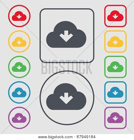 Download From Cloud Icon Sign. Symbol On The Round And Square Buttons With Frame. Vector