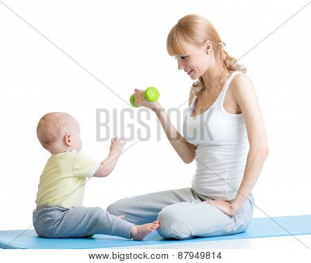 Mother And Little Kid Spending Time In Gymnastics