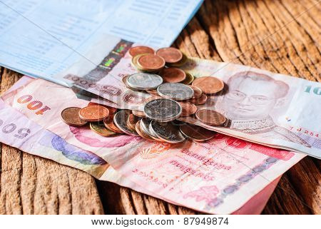 Thai Money Bath And Saving Account Passbook