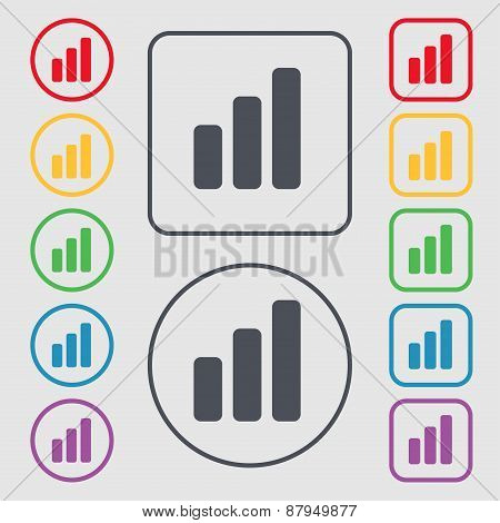 Growth And Development Concept. Graph Of Rate Icon Sign. Symbol On The Round And Square Buttons With