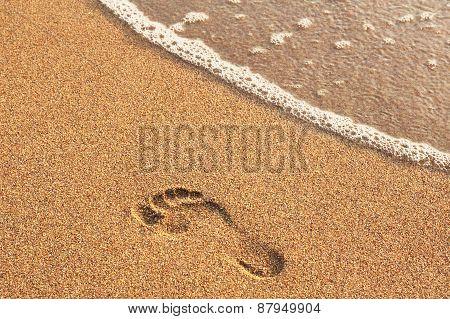 Footprint On A Sandy Beach