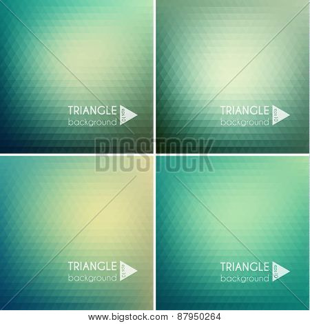 Smooth triangular colorful backgrounds set - eps10