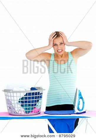 Upset Woman Ironing