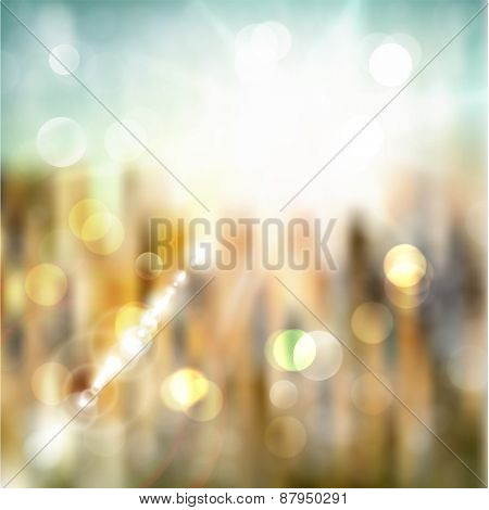 Abstract summer illustration with sun beams and defocused lights