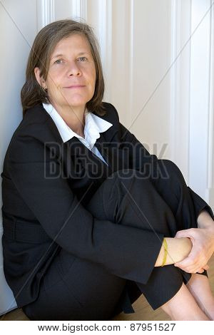 Businesswoman Sitting On The Floor