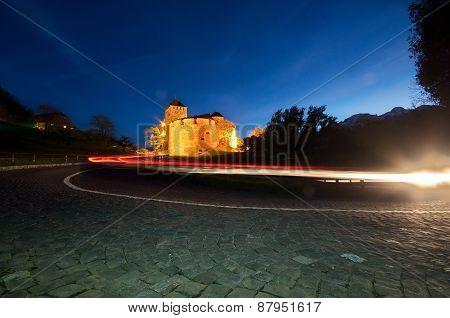 Castle Of Vaduz In Liechtenstein At Night