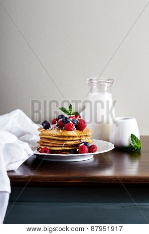 Coconut flour pancakes with fresh berries