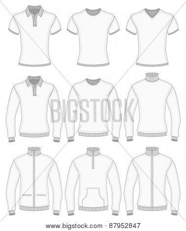 Men's short and long sleeve clothes. Vector illustration.