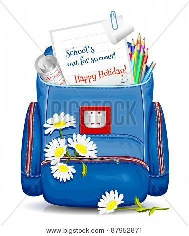 School bag with education traditional objects and flowers. Happy summer holidays! Vector illustration.