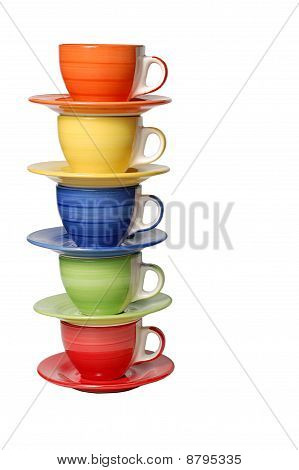 A set of colourful cups