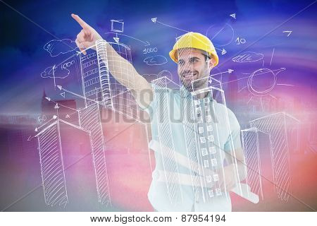Male architect with blueprints pointing away against cloudy sky over city
