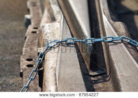 Rusty Train Tracks And Chain