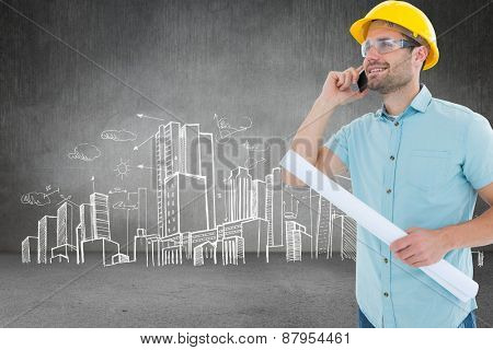 Male architect with blueprint talking on mobile phone against hand drawn city plan