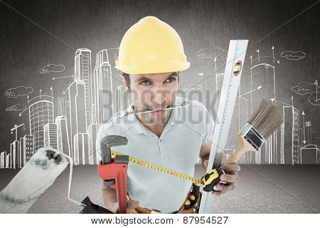 Carpenter with various equipment against hand drawn city plan