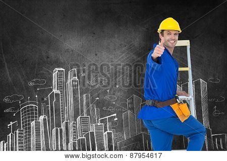 Repairman gesturing thumbs up while climbing step ladder against hand drawn city plan