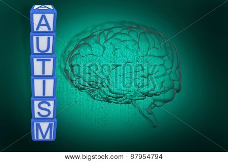 Autism building blocks against green background with vignette
