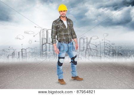 Full length portrait of confident handyman against road