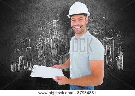 Portrait of manual worker holding clipboard against hand drawn city plan