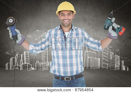 Manual worker holding power tools against hand drawn city plan