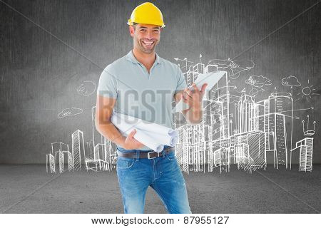 Architect with plan against hand drawn city plan