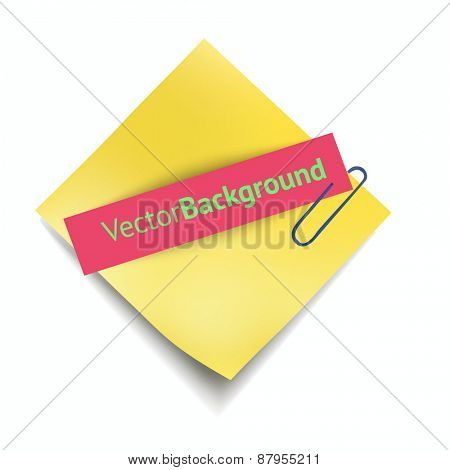 Vector Illustration: Sheets paper with clip. Vector illustration