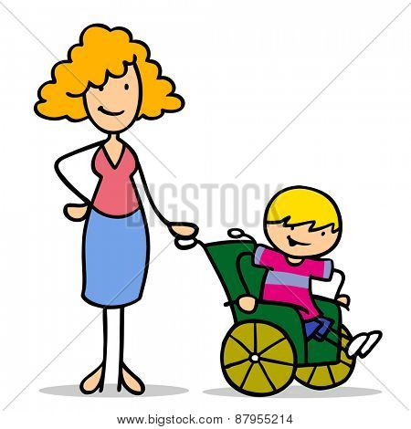 Happy mother with disabled son in a wheelchair
