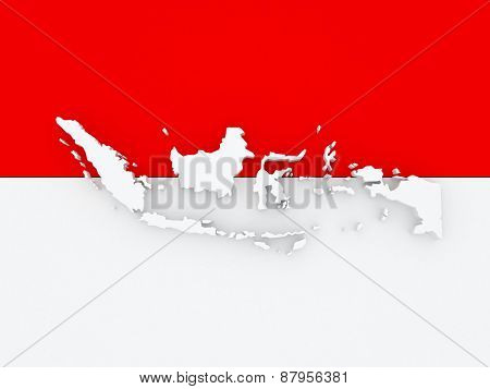 Map of Indonesia. 3d