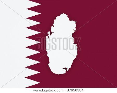 Map of Qatar. 3d