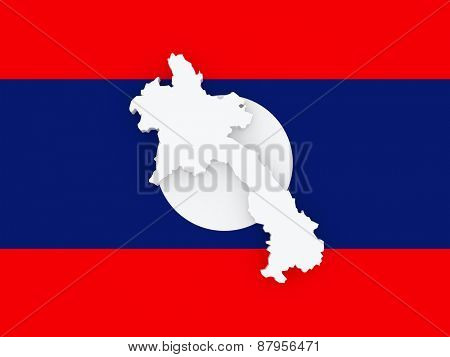 Map of Laos. 3d