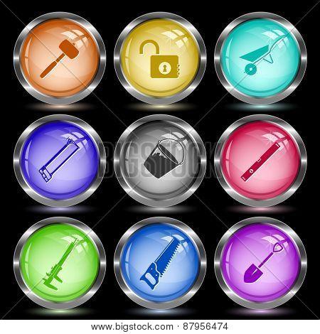 Industrial tools set. Internet button. Raster illustration.