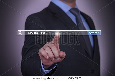 Business pressing Marketing Search button