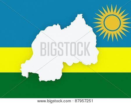 Map of Rwanda. 3d