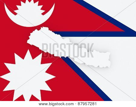 Map of Nepal. 3d