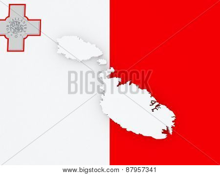 Map of Malta. 3d