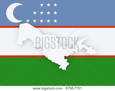 Map of Uzbekistan. 3d
