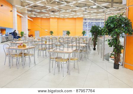 MOSCOW, RUSSIA  -  MARCH 24, 2015: Interior of the cafe in Crocus City Mall. Crocus City complex (Mall, Expo, Hotels, Concert hall, Restaurants)