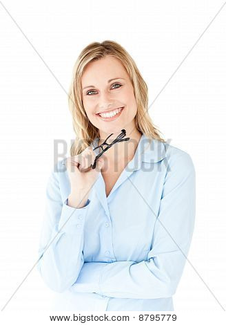 Portrait Of A Successful Businesswoman Holding Glasses