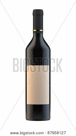 Wine Bottle With Blank Lable Isolated On White Background
