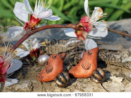 Handmade Clay Bird Earrings On The Nature Background
