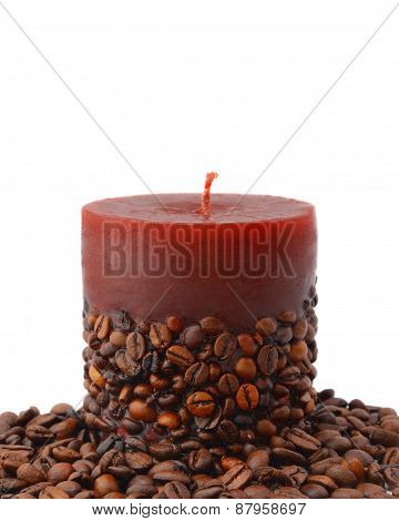 Aroma Candle Decorated With Coffee Beans