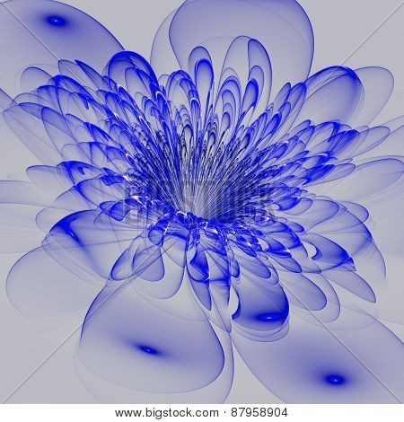 Beautiful Blue Flower On Gray Background. Computer Generated Graphics.