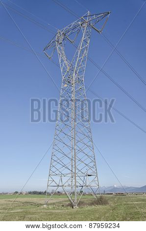 Detail Of Pylon Of Electricity In The Countryside