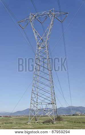 View Of Pylon Of Electricity In The Countryside
