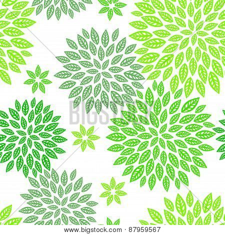 Green Floral Seamless Pattern.