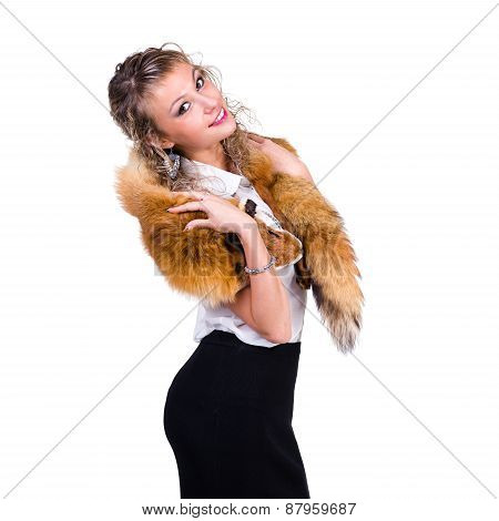 woman wearing winter fur scarf