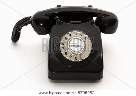 Black retro rotary phone